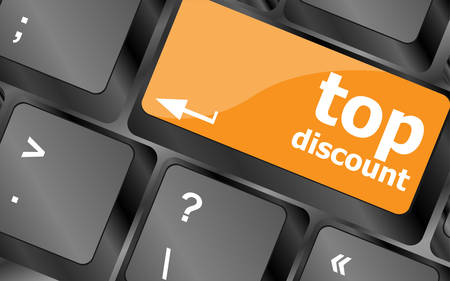 computer key: top discount concept sign on computer key, vector illustration