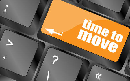 cronologia: words Time to move on keyboard key, vector illustration