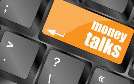 conversaciones: el dinero habla sobre el botón tecla del teclado del ordenador, ilustración vectorial