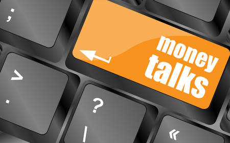 talks: money talks on computer keyboard key button, vector illustration