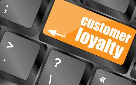 dedicate: button keypad key with customer loyalty word, vector illustration