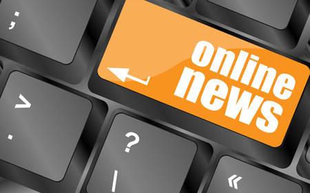 online news: online news button on computer keyboard key, vector illustration Illustration