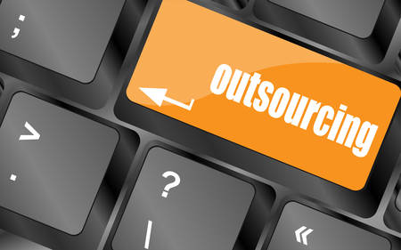 outsourcing: outsourcing button on computer keyboard key, vector illustration