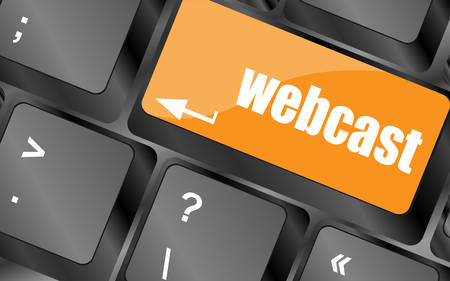 webcast: keyboard key with webcast web button, vector illustration