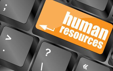 recursos humanos: botón de recursos humanos en la tecla del teclado del ordenador, ilustración vectorial