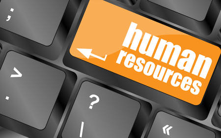 teleworker: human resources button on computer keyboard key, vector illustration