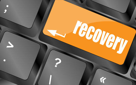 data recovery: key with recovery text on laptop keyboard button, vector illustration
