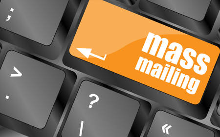 mailing: Marketing concept: computer keyboard with word Mass Mailing, vector illustration