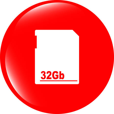 flash memory: vector flash memory card web button (icon) isolated on white Illustration