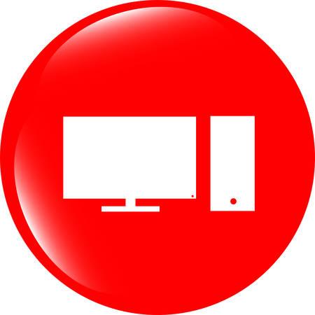 pc icon: vector computer pc icon button Illustration