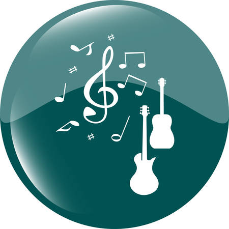 shiny button: Acoustic and electric guitar sign icon. Music symbol. Web shiny button vector illustration