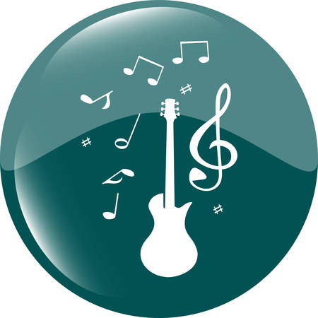 shiny button: electric guitar sign icon. Music symbol. Web shiny button vector illustration