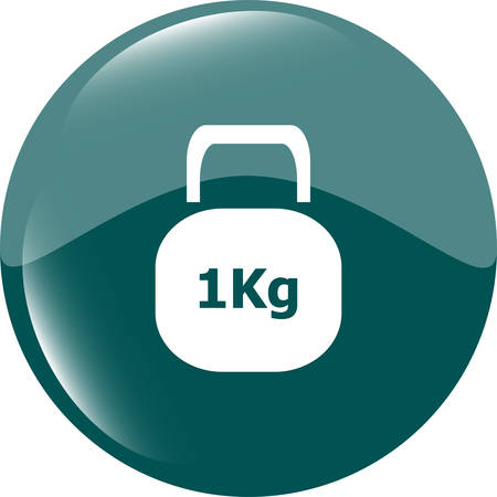 kilograms: Weight sign icon. 1 kilogram (kg). Envelope mail weight. web icon button vector illustration Illustration