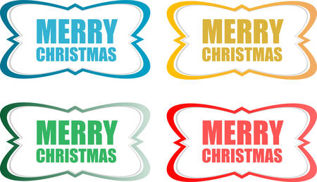 vector vector merry christmas stickers set isolated on white
