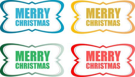 vector vector merry christmas stickers set isolated on white - Merry Christmas Stickers