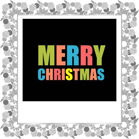 christmas photo frame: Merry Christmas lettering Greeting Card. Photo Frame. Vector illustration