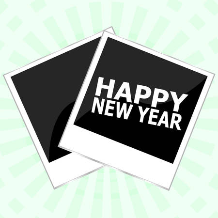 new year photo frame: Happy New Year lettering Greeting Card. Photo Frame. Vector illustration