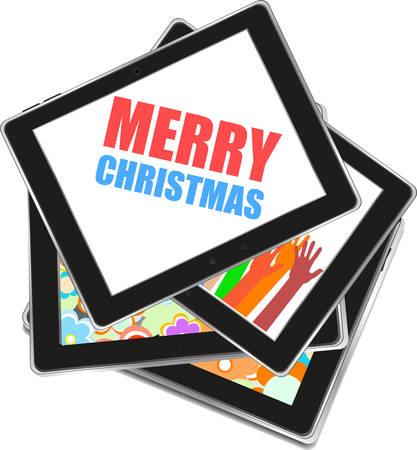 smart card: Smart phone with Merry Christmas greetings on the screen, Vector holiday card