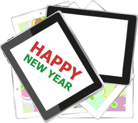 smart card: Smart phone with Happy New Year greetings on the screen, Vector holiday card