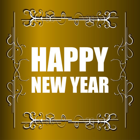 forties: Vector Vintage Happy New Year Vector Card. Grunge effects. Illustration