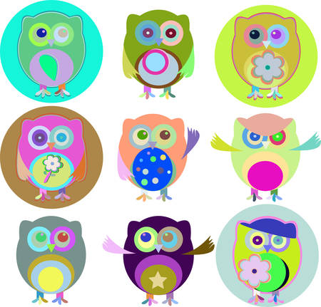 combinations: illustration of colorful owls with nine color combinations