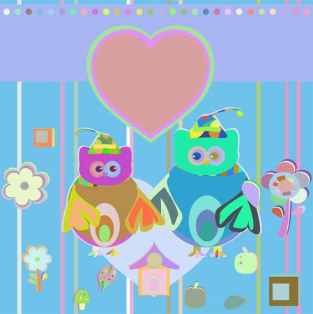 happy owl set, holiday invitation card, vector illustration Illustration