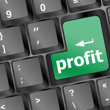 returns: Profit key showing returns for internet business vector illustration Illustration