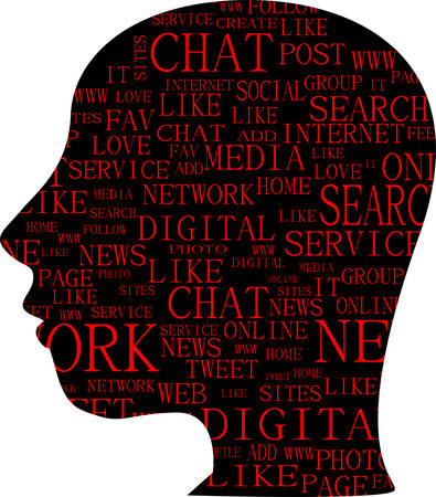 bookmarking: Word cloud, tag cloud text business concept. Head silhouette with the words on the topic of social networking. Word collage. vector illustration Illustration