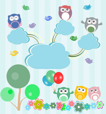 garden flowers: Birds and owls in spring forest. Vector set
