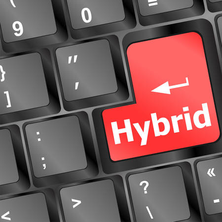 hybrid: hybrid key on keyboard vector vector illustration Illustration