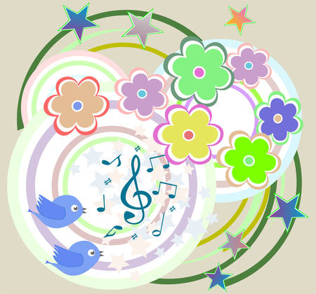 heart tone: vector birds in love, singing on abstract floral background