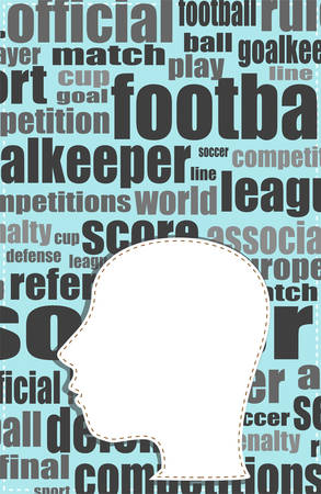 textual: the silhouette of his head with the words on the topic of social networking