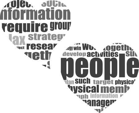 vector Social media love concept in word tag cloud of think bubble Illustration