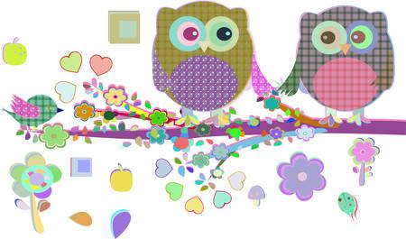 sat: Valentine boy and girl owls sat on a tree branch, vector illustration Illustration
