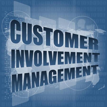 involvement: customer involvement management word on business digital screen vector illustration Illustration