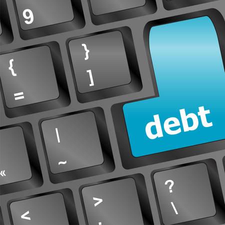 financial adviser: debt key in place of enter key - business concept vector illustration