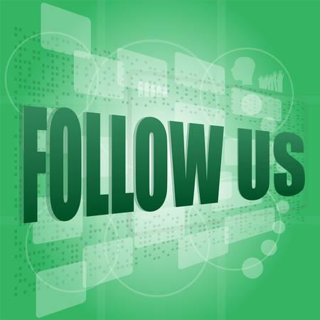 microblog: word follow us on digital background on digital screen