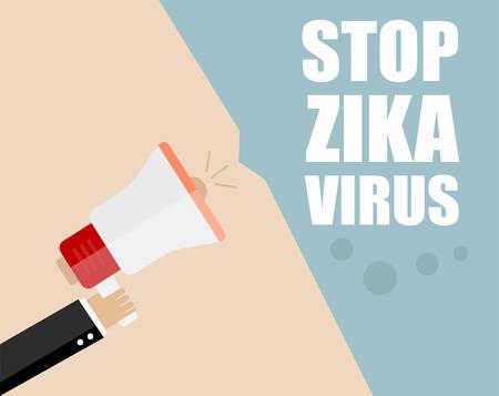Hand holding megaphone - Attention ZIKA virus, vector illustration Иллюстрация