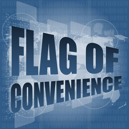 convenience: flag of convenience word on digital touch screen vector illustration