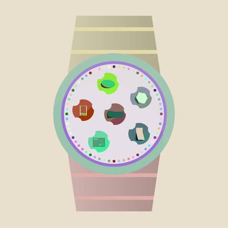 smart: Vector Smart Watch Icons Illustration