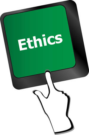 ethics: ethics concept on the modern computer keyboard key Illustration