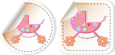 perambulator: Baby icon set - baby girl perambulator vector illustration Illustration