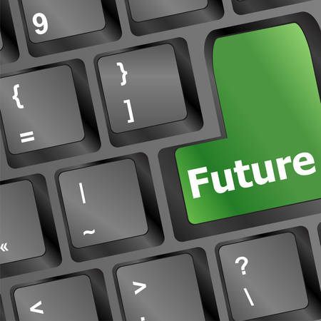 prognoses: future time concept with key on computer keyboard vector illustration