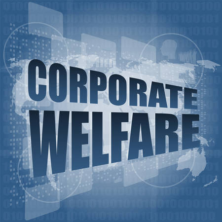 welfare: corporate welfare word on business digital screen vector illustration