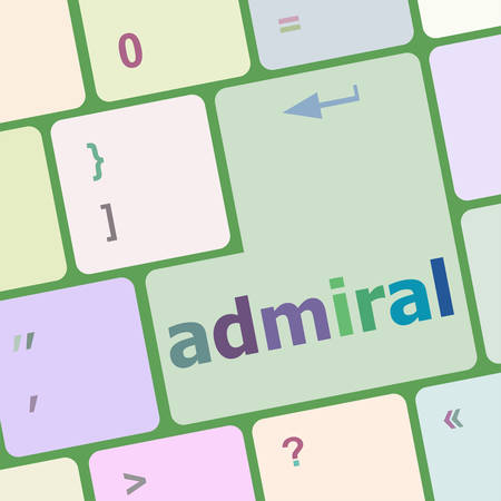 admiral: computer keyboard pc with admiral text vector illustration