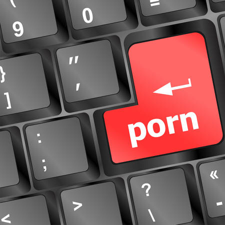 Porn button on keyboard - social concept vector illustration 向量圖像
