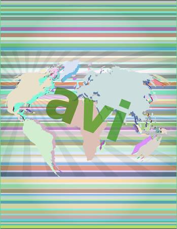 mpg: digital concept: avi word on digital screen vector illustration Illustration