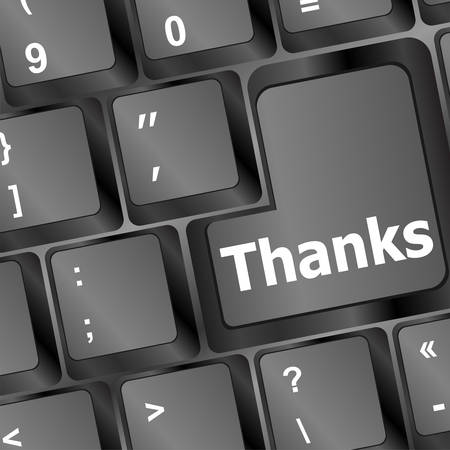 key words art: a thanks message on enter key of keyboard vector illustration
