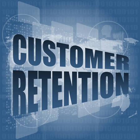 retention: customer retention word on business digital screen vector illustration Illustration