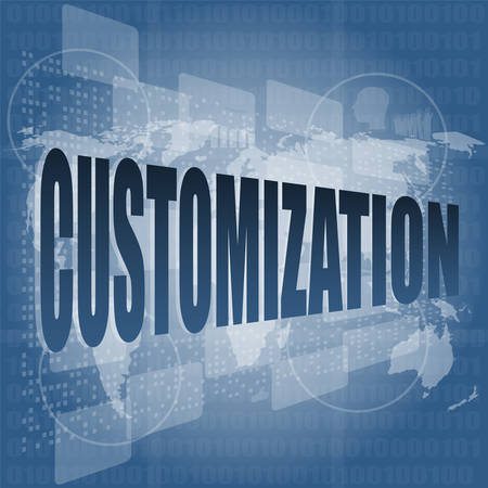 customization: customization word on digital binary touch screen vector illustration